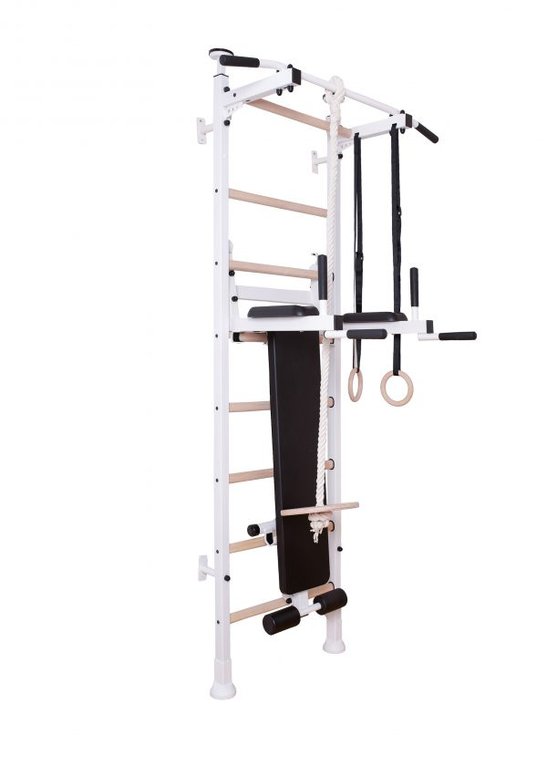 White gymnasticwall bar for kids with accessories BenchK 414