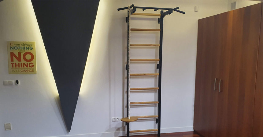 Wall bars on the loft