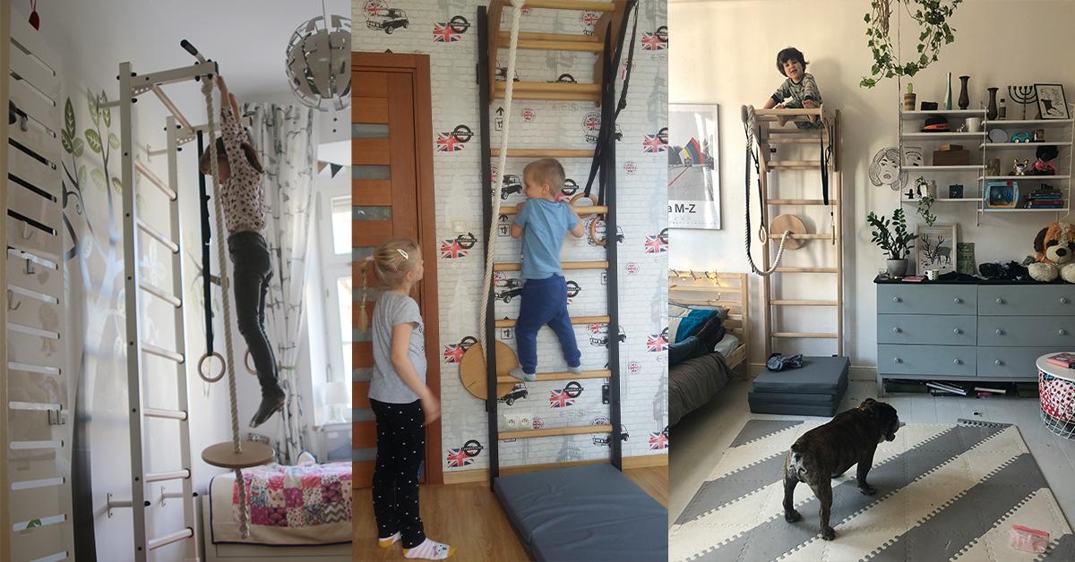 drabinka gimnastyczna w pokoju dziecka