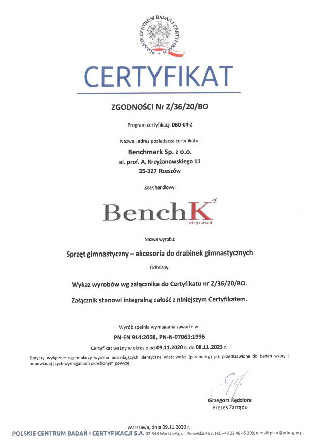 Certyfikat drabinek gimnastycznych BenchK
