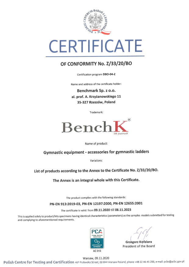 Wall bar security certificate BenchK