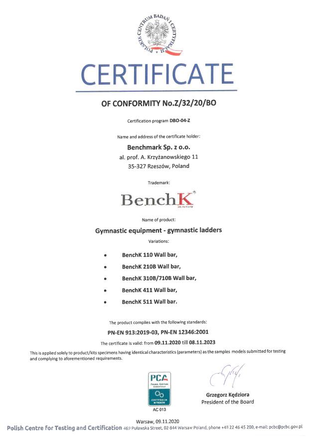 Wall bar security certificate BenchK